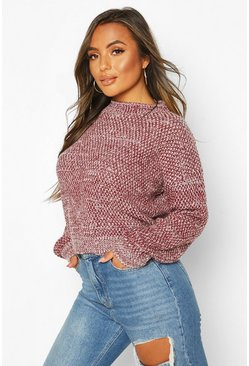 Berry Petite Waffle Knit Marl Knitted Jumper