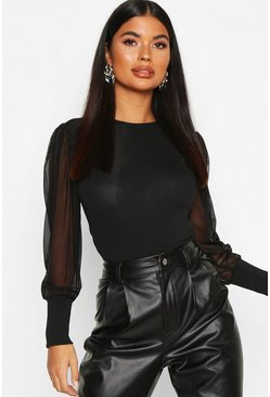 Black Petite Ribbed Mesh Sleeve Top