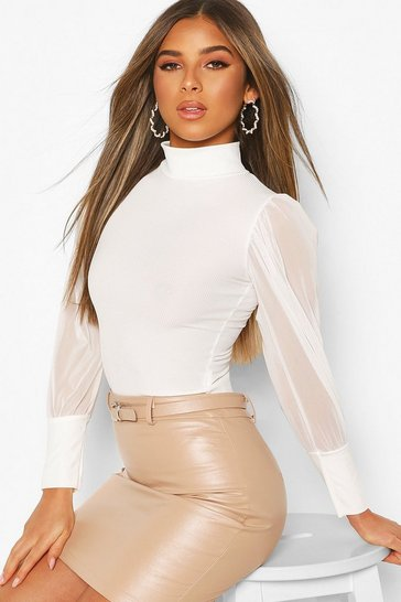 Ivory Petite Roll Neck Mesh Sleeve Top