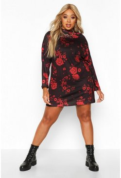 Womens Black Plus Floral High Neck Oversized T-Shirt Dress