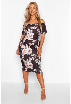 Womens Black Plus Bardot Floral Midi Dress