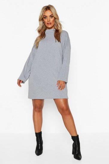 Grey Plus High Neck Oversized T-Shirt Dress
