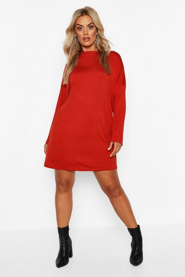 Womens Terracotta Plus High Neck Oversized T-Shirt Dress
