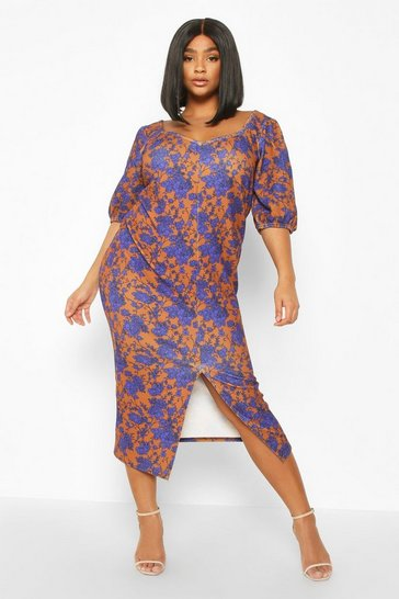 Womens Terracotta Plus Floral Puff Sleeve Button Down Midi