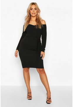 Black Plus Bardot Wrap Tie Belt Midi Dress