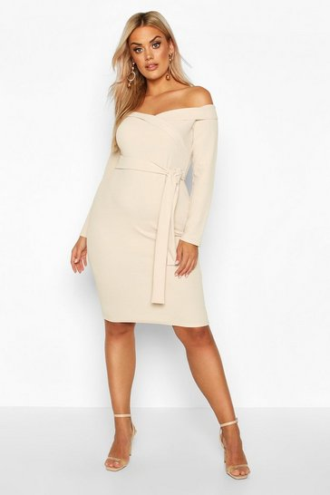 Stone Plus Bardot Wrap Tie Belt Midi Dress