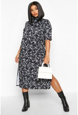 Womens Black Plus Floral High Neck Side Split Midi Dress