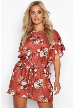 Womens Terracotta Plus Floral Ruffle Tie Waist Shift Dress