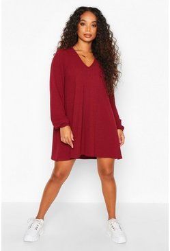 Womens Berry Petite Soft Rib V-Neck Swing Dress