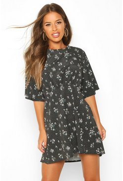 Womens Black Petite Floral Angel Sleeve Skater Dress