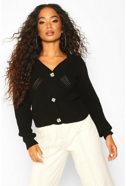 Black Petite Mock Horn Button Chunky Knit Cardigan