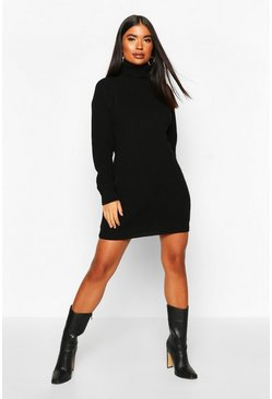 Womens Black Petite Roll Neck Jumper Dress