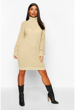 Mushroom Petite Roll Neck Jumper Dress