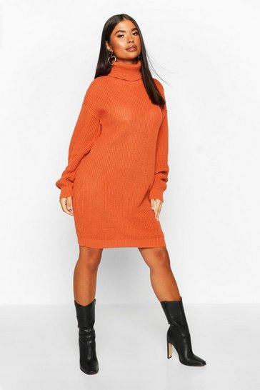 Womens Toffee Petite Roll Neck Jumper Dress