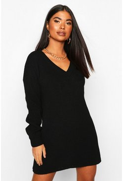 Black Petite Rib V-Neck Jumper Dress
