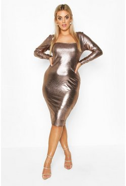 Womens Bronze Plus Metallic Square Neck Long Sleeve Midi Dress