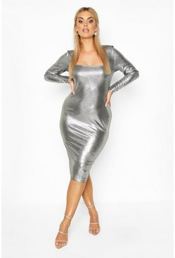Silver Plus Metallic Square Neck Long Sleeve Midi Dress