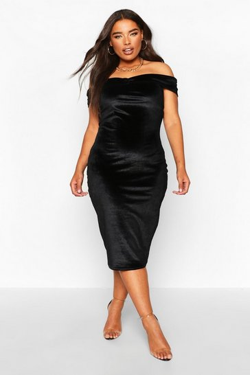 Black Plus Bardot Velvet Midi Dress