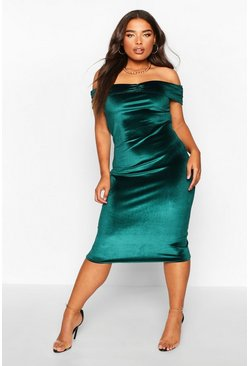 Womens Emerald Plus Bardot Velvet Midi Dress
