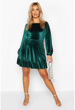 Womens Emerald Plus Velvet Ruffle Hem Skater Dress