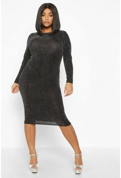 Womens Silver Plus Glitter Long Sleeve Midi Dress