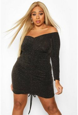 Dam Gold Plus Glitter Shimmer Ruched Front Bodycon