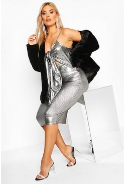 Womens Silver Plus Metallic Plunge Tie Front Mini Dress