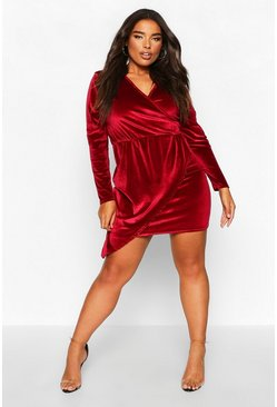 Berry Plus Velvet Wrap Asymmetric Dress