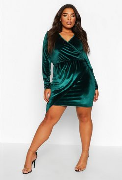 Emerald Plus Velvet Wrap Asymmetric Dress