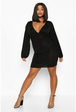 Womens Black Plus Glitter Shimmer Blouson Sleeve Mini Dress