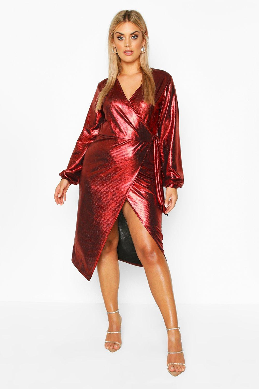 70s Dresses – Disco Dress, Hippie Dress, Wrap Dress Womens Plus Metallic Wrap Detail Midi Dress - red - 16 $11.00 AT vintagedancer.com