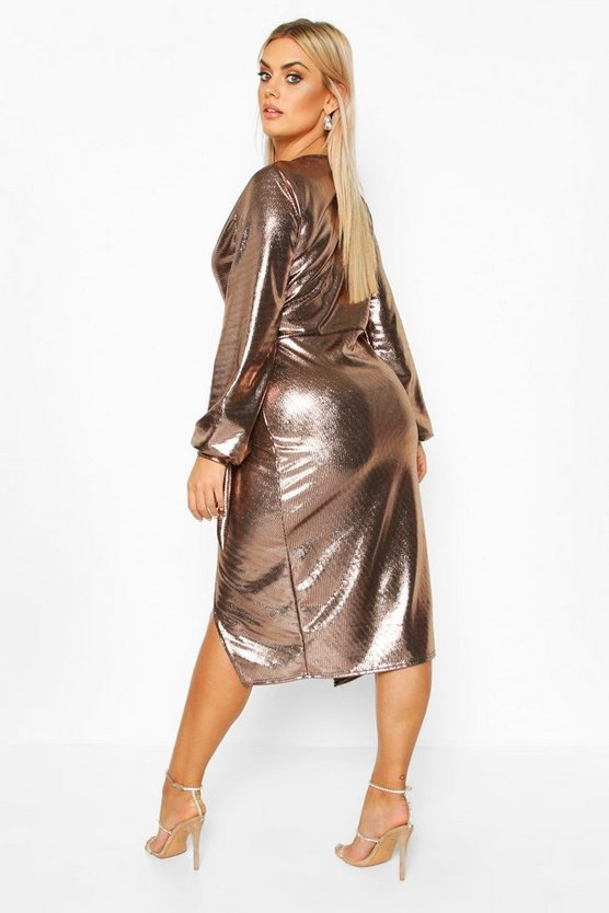 Plus Metallic Wrap Detail Midi Dress