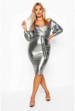 Womens Silver Plus Metallic Off The Shoulder Midi Dress
