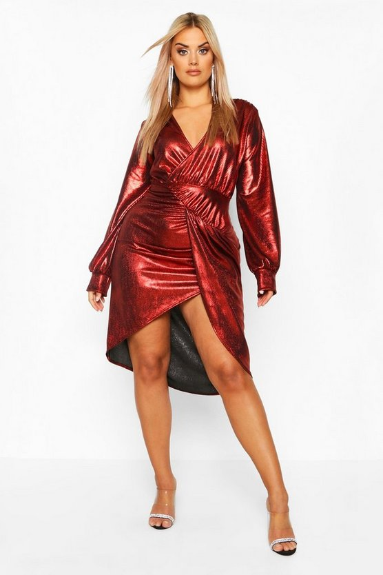 Plus Metallic Plunge Long Sleeve Wrap Detail Dress