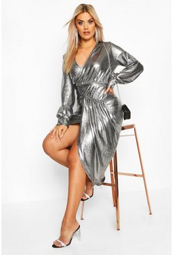 Womens Silver Plus Metallic Plunge Long Sleeve Wrap Detail Dress