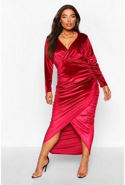 Berry Plus Velvet Wrap Ruched Detail Dress