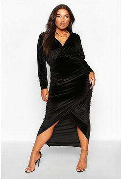 Black Plus Velvet Wrap Ruched Detail Dress