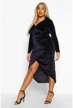 Navy Plus Velvet Wrap Ruched Detail Dress