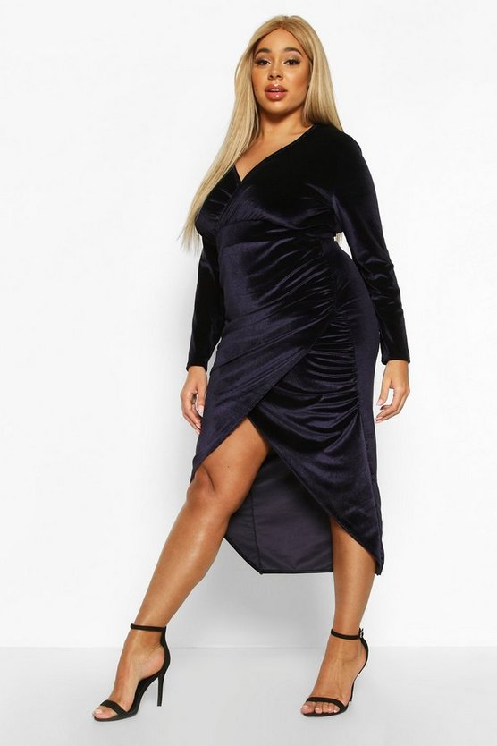 Plus Velvet Wrap Ruched Detail Dress