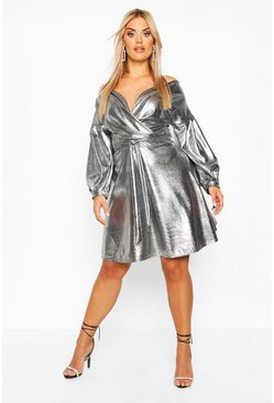 Womens Silver Plus Metallic Wrap Tie Waist Skater Dress