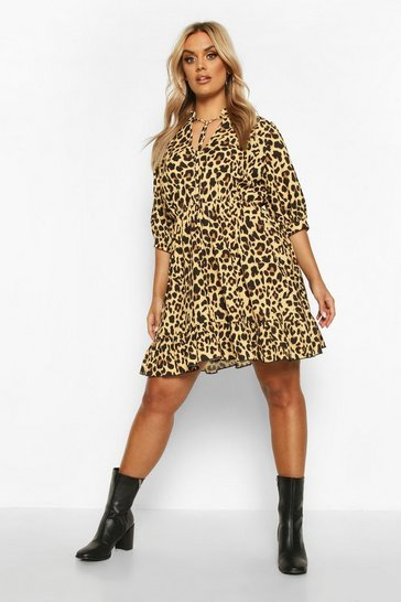 Womens Camel Plus Leopard Ruffle High Neck Skater Dress