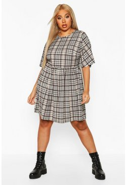 Womens Cream Plus Check Angel Sleeve Smock Dress
