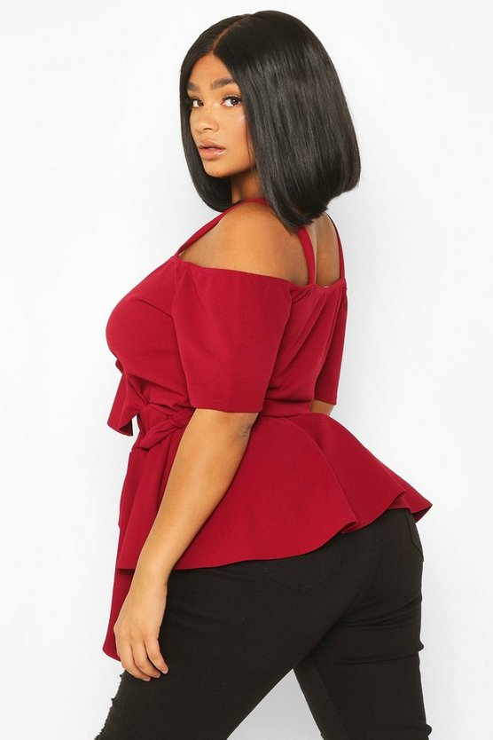 Plus Plunge Ruffle Cold Shoulder Peplum Top