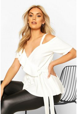 Ivory Plus Plunge Ruffle Cold Shoulder Peplum Top