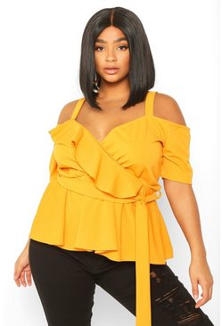 Womens Mustard Plus Plunge Ruffle Cold Shoulder Peplum Top