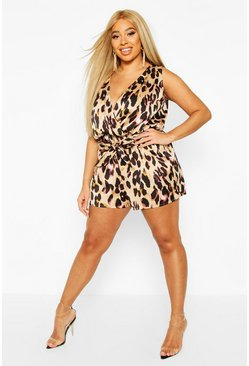 Brown Plus Satin Leopard Cami Playsuit