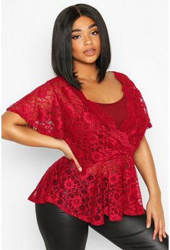Womens Berry Plus Lace Wrap Peplum Top