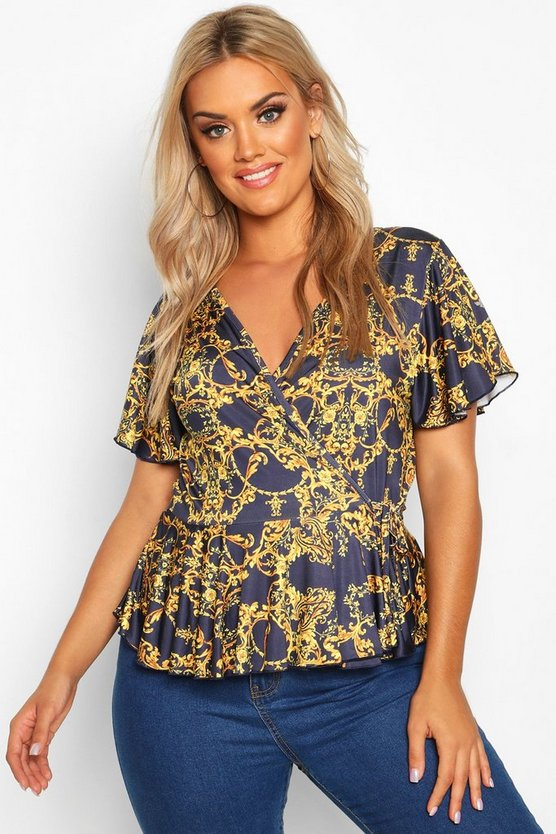 Plus Chain Print Wrap Peplum Top