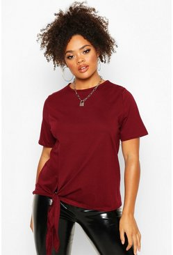 Womens Berry Plus Cotton Tie Side Oversized T-Shirt