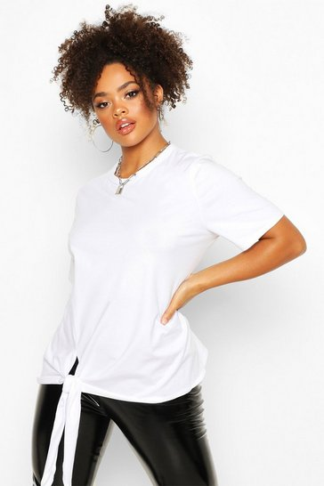 Womens White Plus Cotton Tie Side Oversized T-Shirt